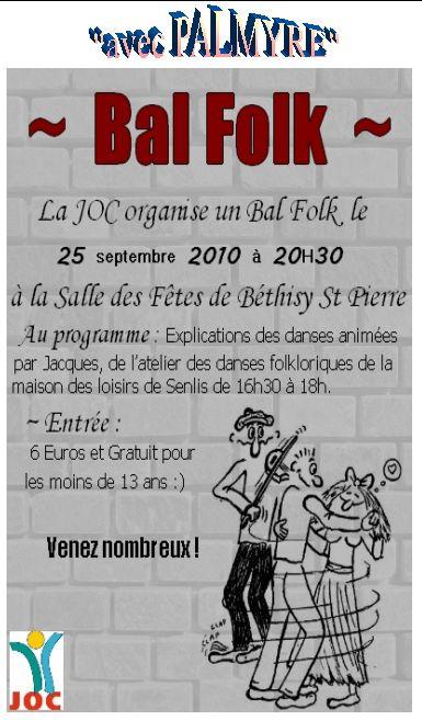Affiche du bal folk 2010 organisé par la Joc à Béthisy St Pierre (60320)