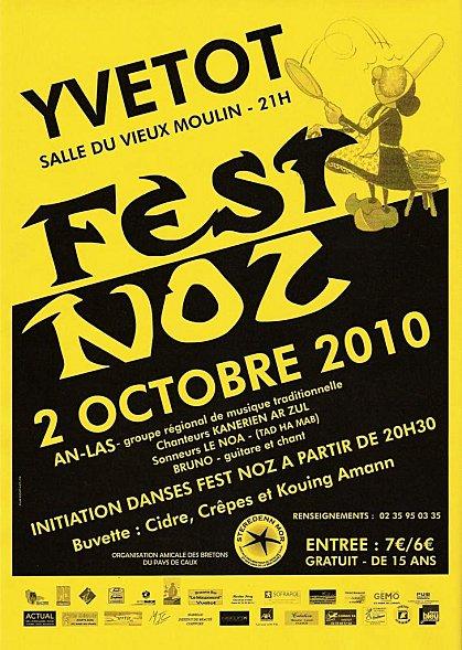 Affiche du fest noz annuel des Bretons du Pays de Caux le 2 octobre 2010 à Yvetot (76)