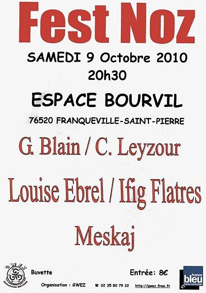 Affiche du fest-noz du 9 octobre 2010 à Franqueville-Saint-Pierre (76)