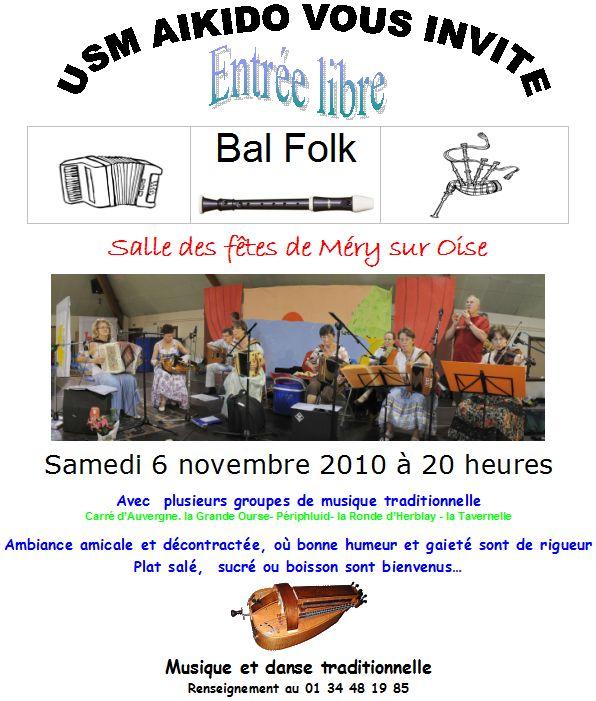Affiche du bal folk 2010 organisé par l'USM aïkido le 6 novembre 2010 à Méry-sur-Oise (95540)