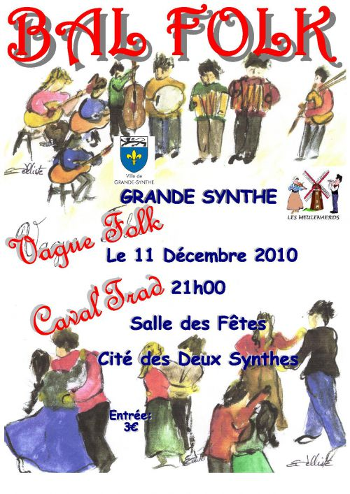 Affiche du bal folk de Noël 2010 des Meulenaerds à Grande-Synthe (59760)