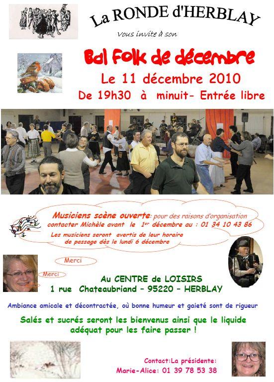 Affiche du bal folk de décembre 2010 à Herblay (95220)