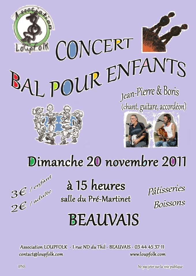 Concert bal folk pour enfants dimanche 20 novembre 2011 à 15h salle du Pré-Martinet à Beauvais (60000)