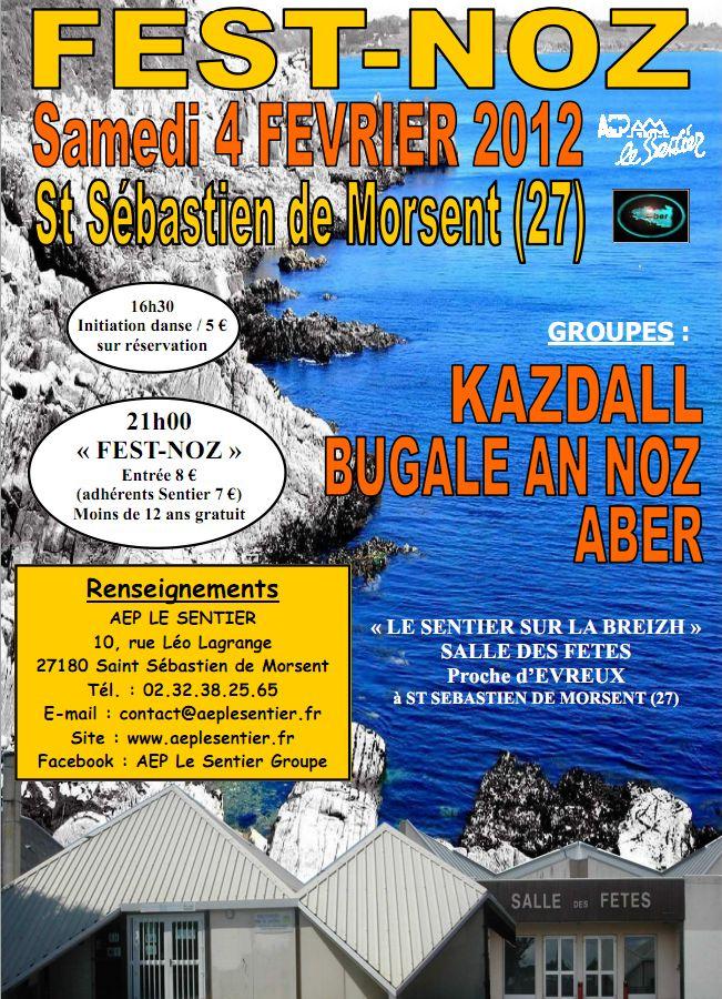 Fest-noz samedi 4 février à la salle des fêtes de Saint-Sébastien-de-Morsent (27180).