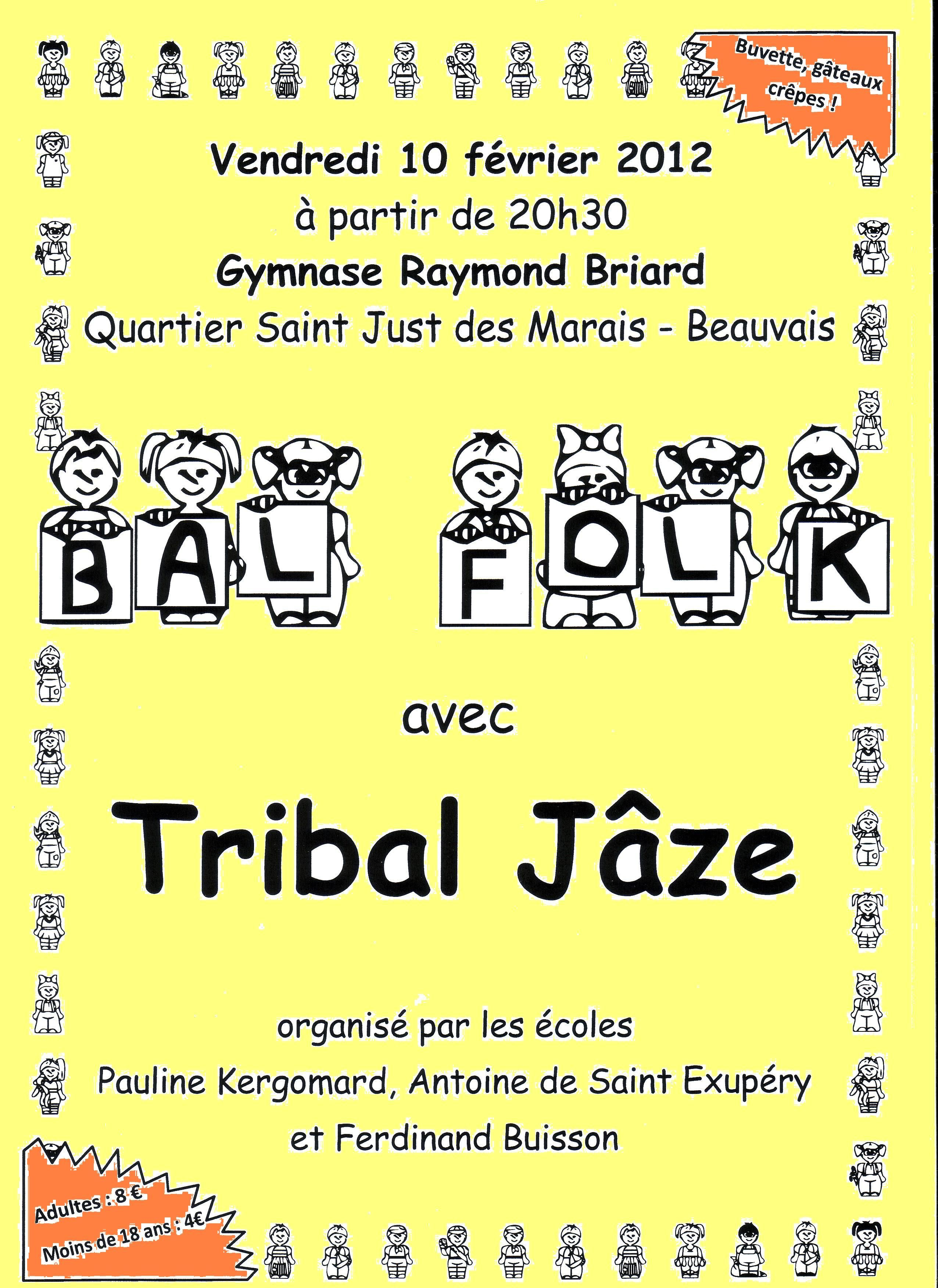 Bal folk avec Tribal Jâze vendredi 10 février à 20h30 au gymnase Raymond Briard à Beauvais (60000).