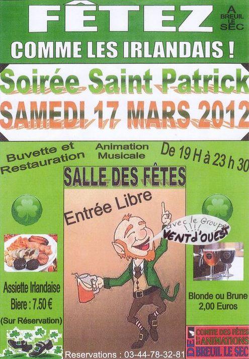Soirée de Saint-Patrick ambiance pub et bal folk samedi 17 mars à Breuil-le-Sec (60840).