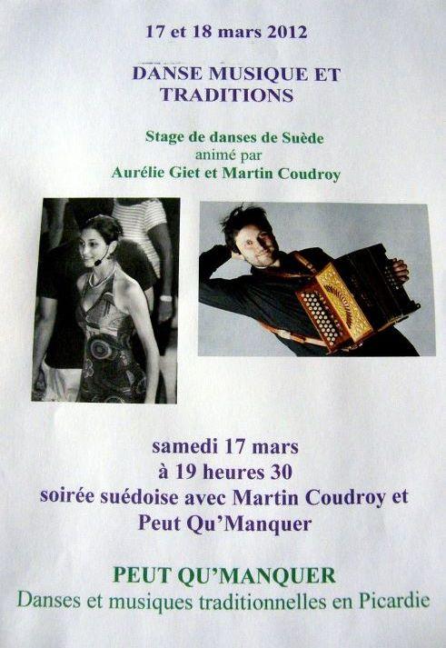 Stage de danses de Suède et bal folk samedi 17 et dimanche 18 mars 2012 à Bertangles (80260).