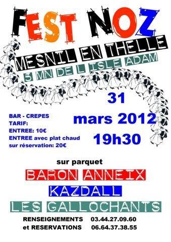 Fest-noz samedi 31 mars 2012, Le Mesnil en Thelle (près de L'Isle Adam).