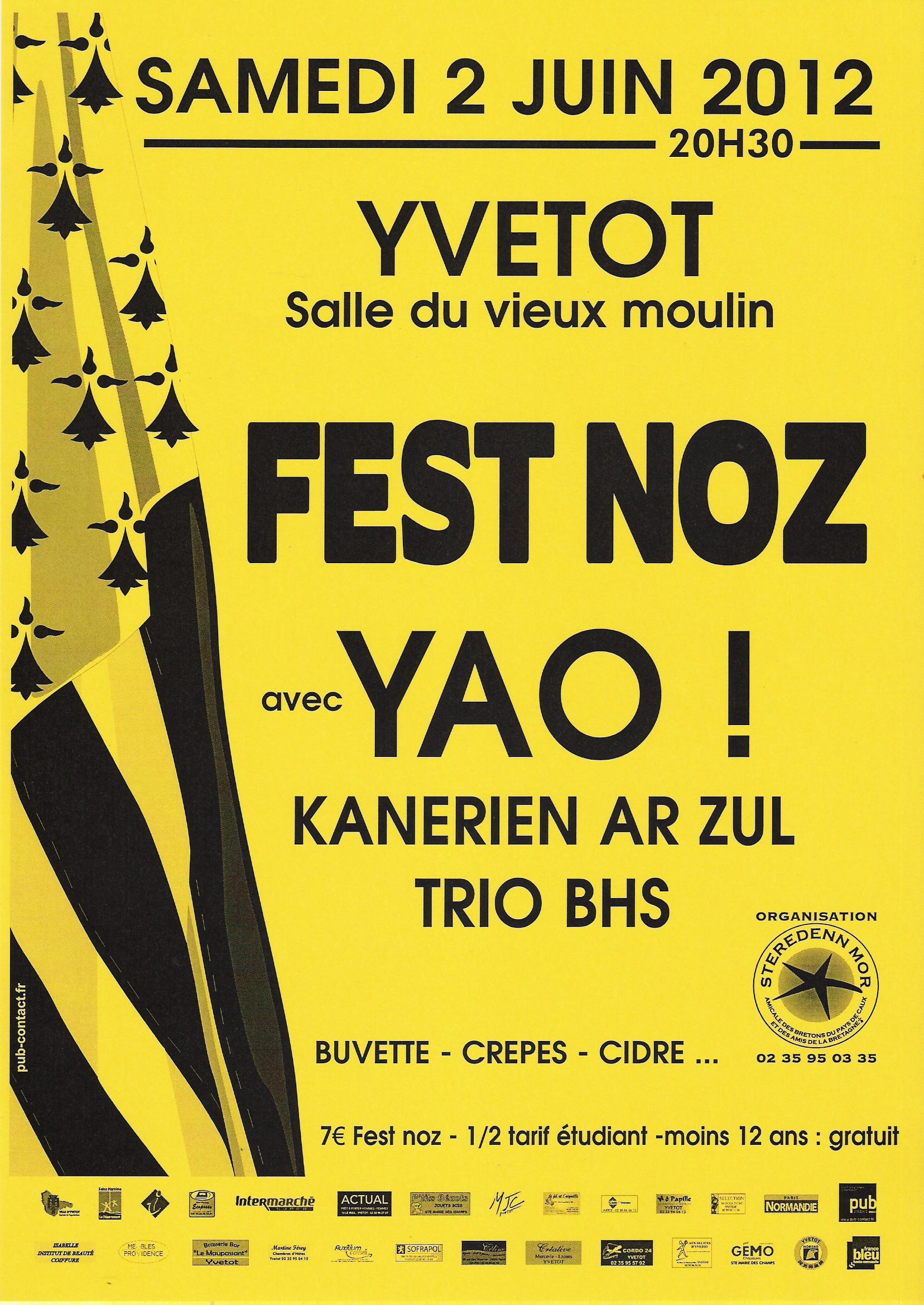 Fest-noz avec Yao samedi 2 juin à Yvetot (76190)