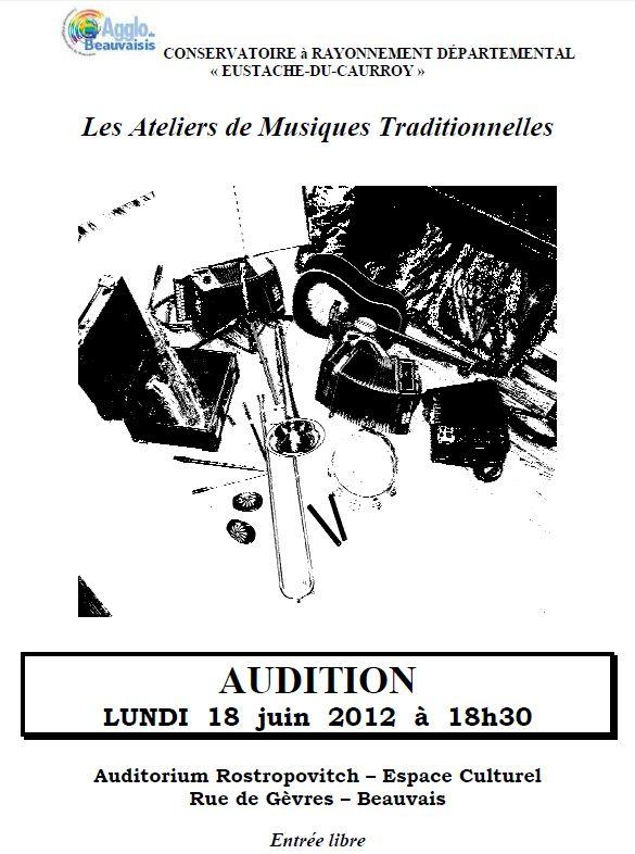 Audition des ateliers de musiques traditionnelles lundi 18 juin à 18h30 à l'auditorium Rostropovitch du Conservatoire du Beauvaisis (Espace culturel, rue de Gèvres) à Beauvais (60000)