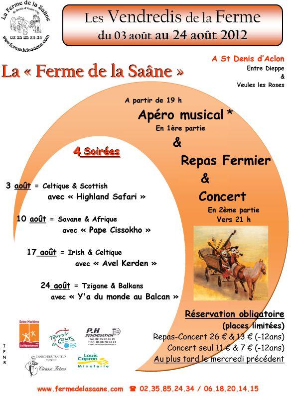 Apéro musical et repas concert les 3, 10, 17 et 24 août à la ferme de la Saâne à Saint-Denis-d'Aclon (76860)