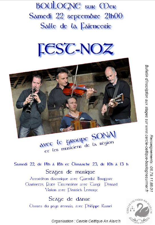 Fest-noz et stages de danse bretonne et de musique trad les 22 et 23 septembre à Boulogne-sur-Mer (62200)