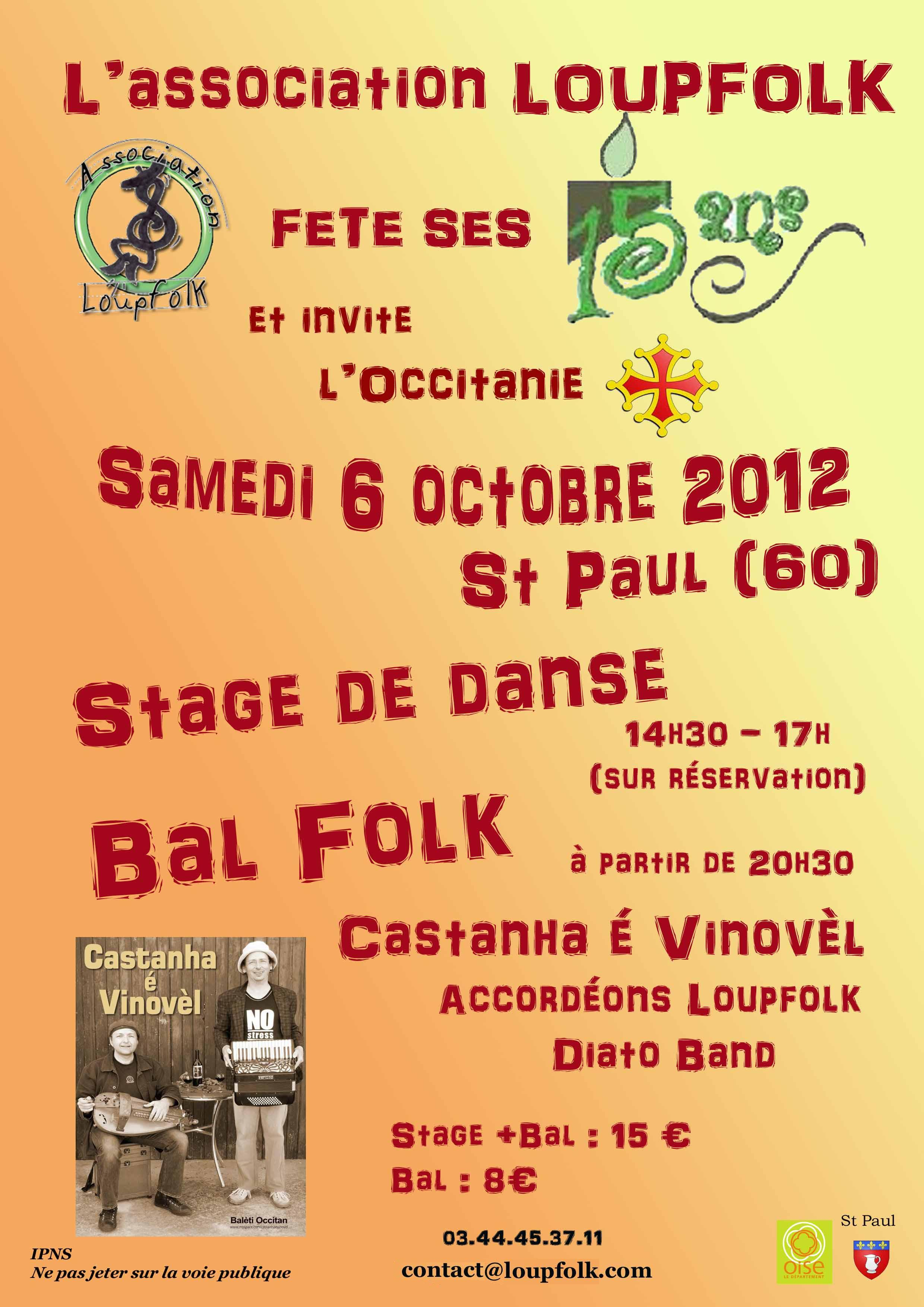 Bal folk des 15 ans de Loupfolk samedi 6 octobre à Saint-Paul (60650)