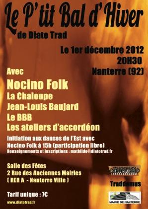 Bal folk Le p'tit bal d'hiver de Diato Trad samedi 1er décembre 2012 à Nanterre (92000)