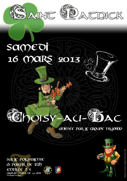 Soirée bal folk de Saint Patrick samedi 16 mars 2013 à Choisy-au-Bac (60750)