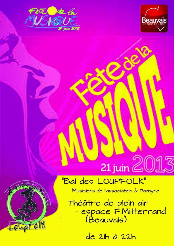 Bal folk de la fête de la musique vendredi 21 juin de 21h à 22h à Beauvais (Oise)